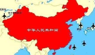 中国から見たアメリカの基地の地図