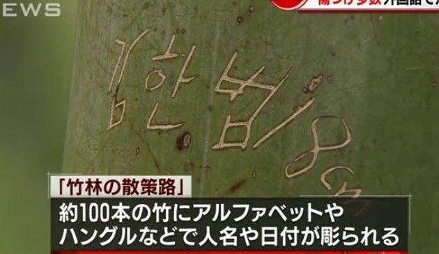 京都の竹林に落書き