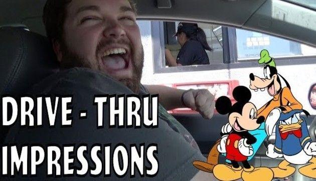 ディズニーのものまねでドライブスルー