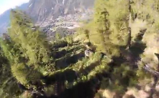 ベースジャンプで木に激突