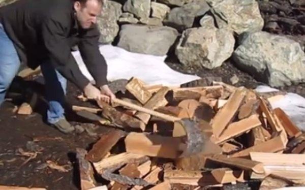 薪を4つに割る十字の斧