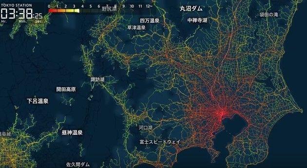 東京から全国への所要時間マップ