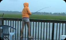 釣れた魚を食いに来る巨大なサメ