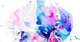 絵の具が滲んで垂れた様な美麗水彩画タッチのアート