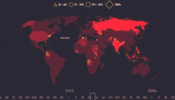 世界のテロをタイムラプス
