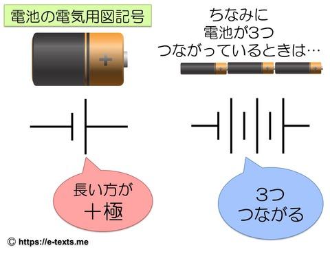 中2物理3 電池の電気用図記号