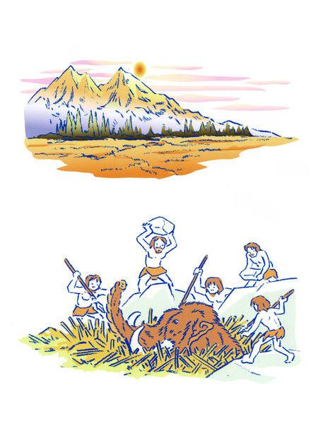 ナウマン象と原始人