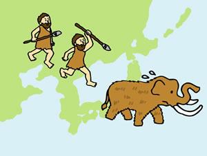 原始人とマンモス