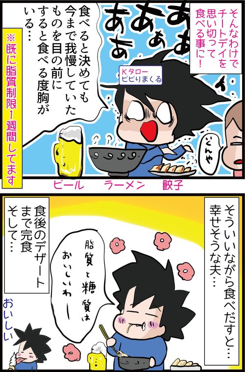 【血糖値実験】糖尿病夫がラーメン・餃子・ビールにデザートまで食べた結果…4
