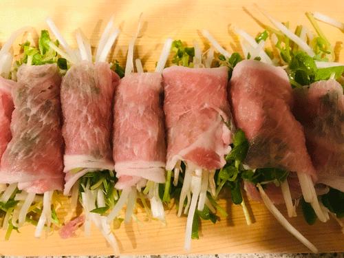 豆苗モヤシの豚ロース巻き