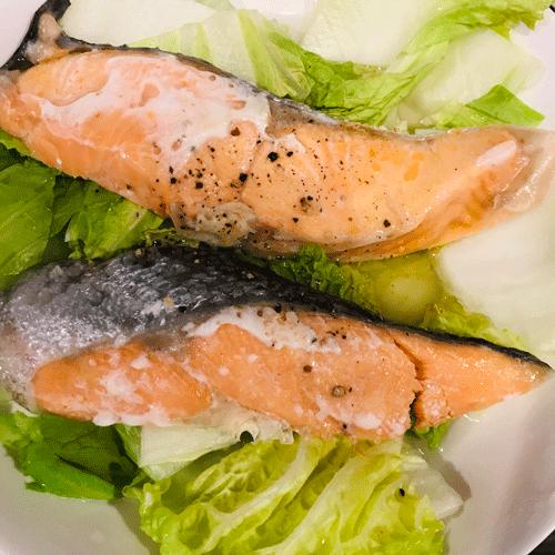 鮭と白菜レンチン蒸し焼き2