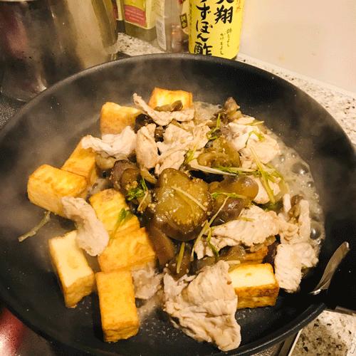 焼きナス厚揚げ豚しゃぶ酢醤油和え2