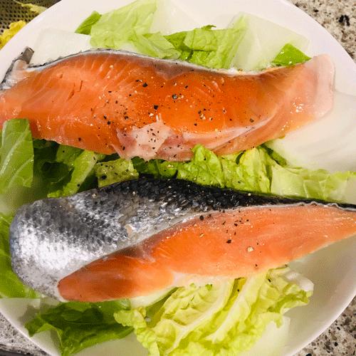 鮭と白菜レンチン蒸し焼き3