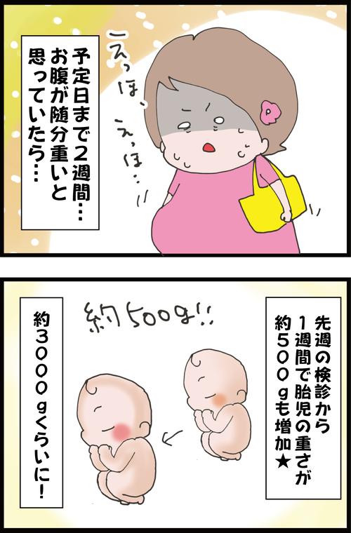 【妊娠10か月】予定日まで2週間…えらくお腹が重いと思っていたら…(妻の高齢妊娠編76)1