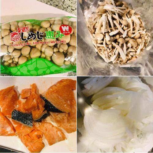 鮭とほうれん草としめじの豆乳味噌スープ