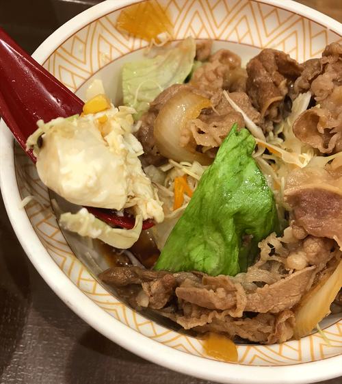 低糖質牛丼の中の豆腐