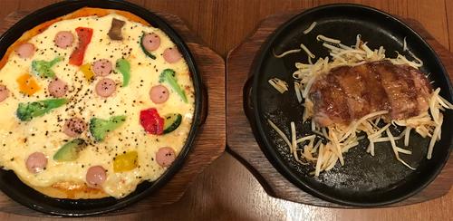 低糖質ピザ&リブロースステーキ