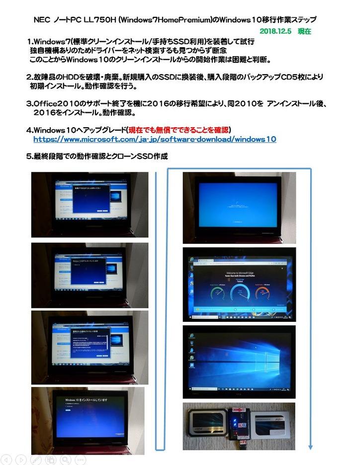 Win7〜10への移行LLH750の場合