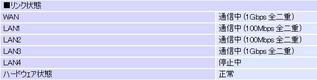 PR-S300NEのステータス。WANが1Gbpsとなっているのが確認できる。