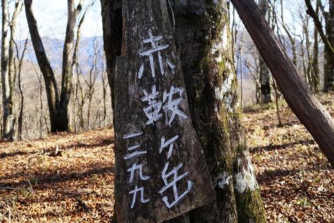 030 渋い山頂標識。