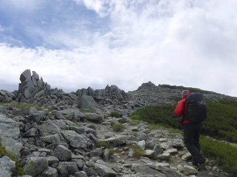 074 富士ノ折立と大汝山の鞍部に出た。