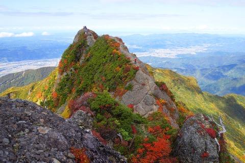 131 摩利支天岳から白河岳と釈迦岳を望む。