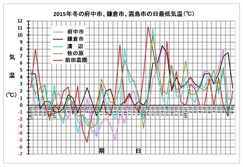 2015府中鎌倉霧島市最低気温グラフ