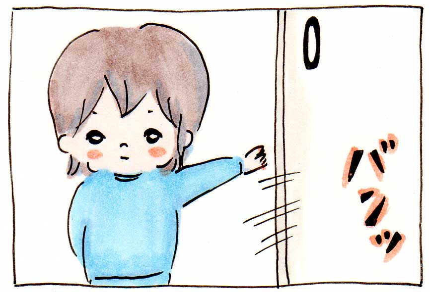 次女(2才)が朝、起きろとプレッシャーをかけてくる【育児絵日記】