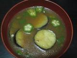 120709揚げ茄子とオクラの味噌汁