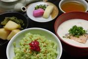 100211抹茶ご飯と粕汁