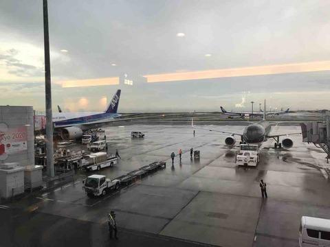 $87 空港。雨に打たれました