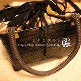 黒と古布調の網代編みかごバッグ