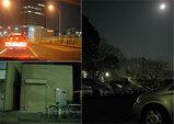 左上:田端駅、同下:実家跡(今は倉庫)、右:駐車場