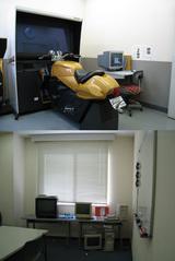 上:二輪シミュレータ室、下:セット教室(数人で話をする部屋)