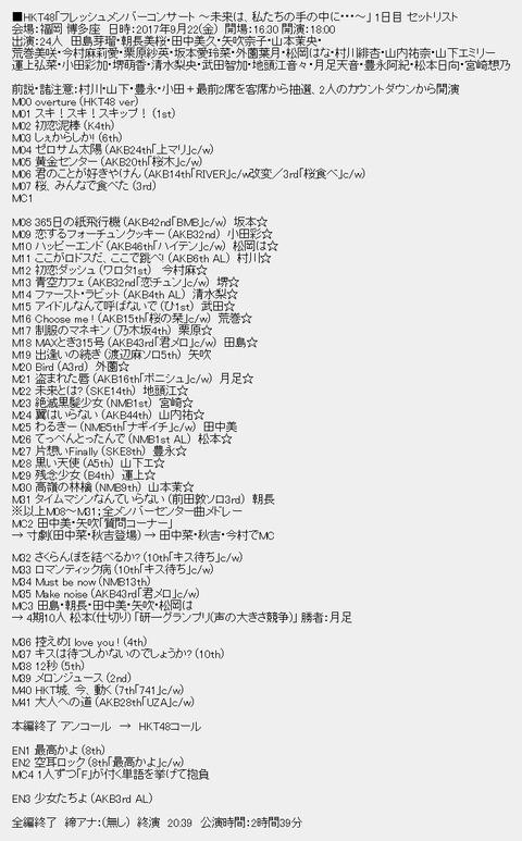 【資料】HKT48「フレッシュメンバーイベント」 1日目セットリスト【HKT48】