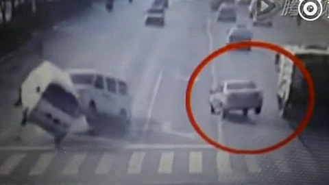 Bizarre moment car flies in China