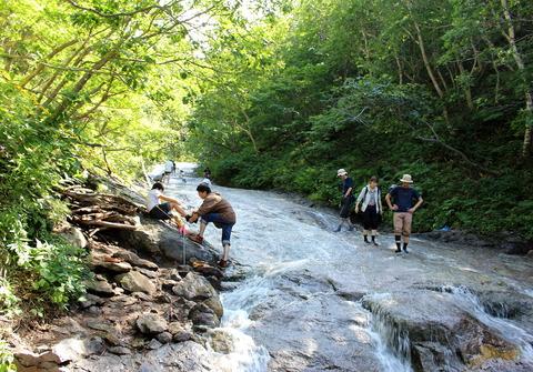 カムイワッカの滝02_bk