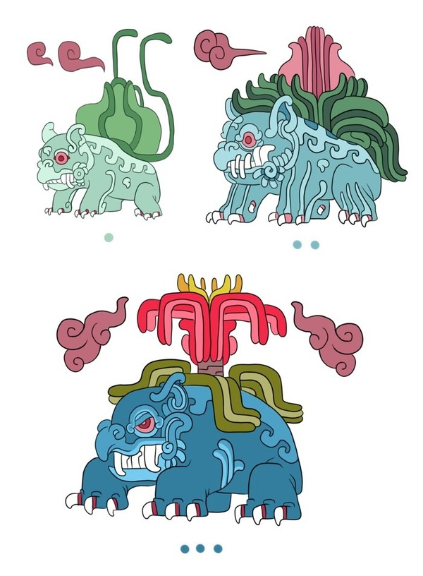 """""""ポケモン""""をマヤ文明風のイラストタッチで描いたファンアート!どれも貫禄がある…"""