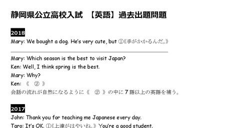 英語 静岡県入試過去問-001