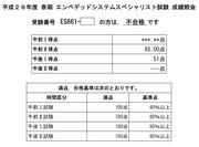 エンベデッドシステムスペシャリスト試験H29成績照会