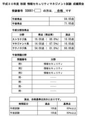 平成30年度秋情報セキュリティマネジメント試験成績照会