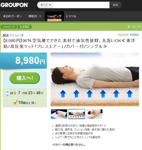 東洋紡ブレスエアーはここで買え グルーポンに登録しておくと1000円引きのクーポンが来たりするかも