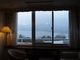 部屋から見た山中湖