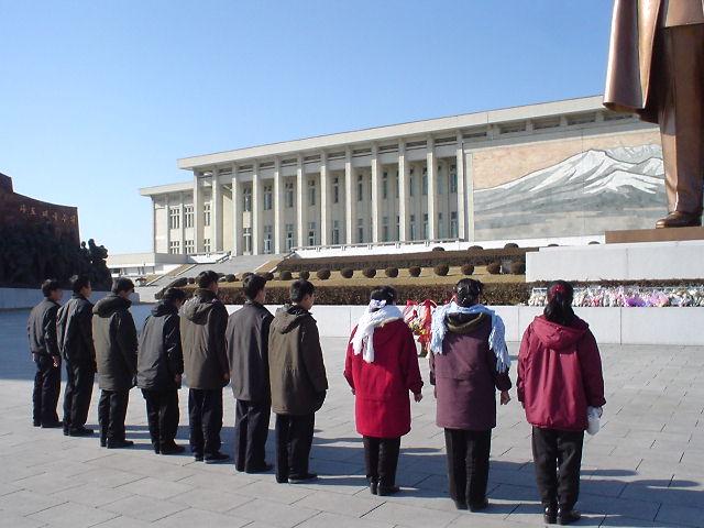 北朝鮮観光 整列