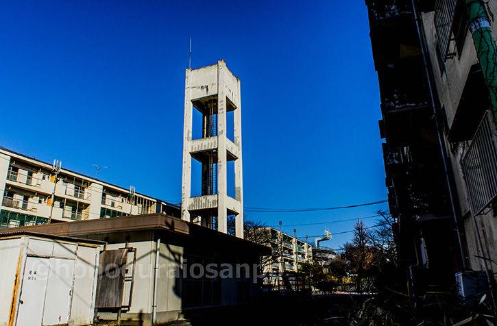 霞ケ丘団地 給水塔と空
