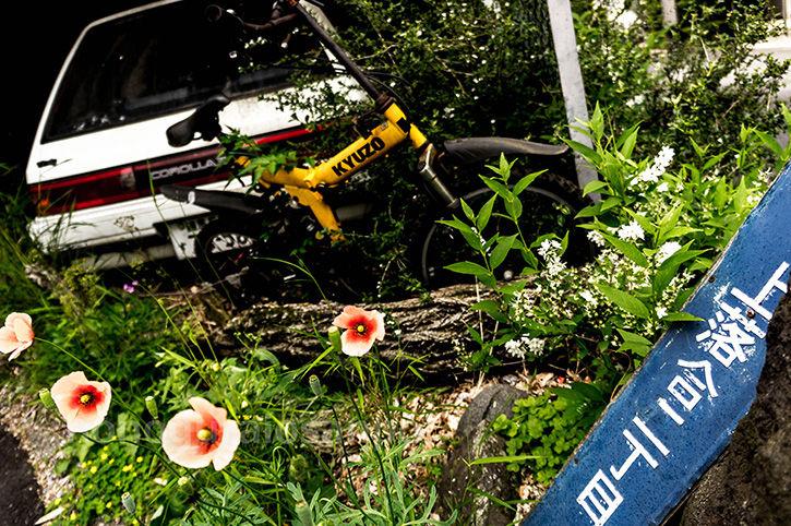 カローラ廃屋 自転車