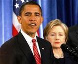 クリントンさんを国務長官に任命するオバマ大統領