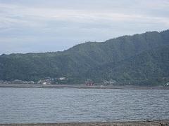 遠くに見える厳島神社の鳥居