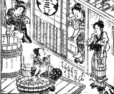 Tokaidochu_Hizakurige_5a_pp13-14_Edo_Nagaya_housewives_gossip