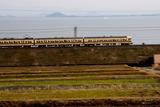 冬の琵琶湖と117系